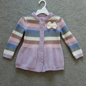 Little Lass Sweater 3T Button Up Striped Cardigan